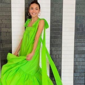 • Tie Strap High-Low Babydoll Dress in Green